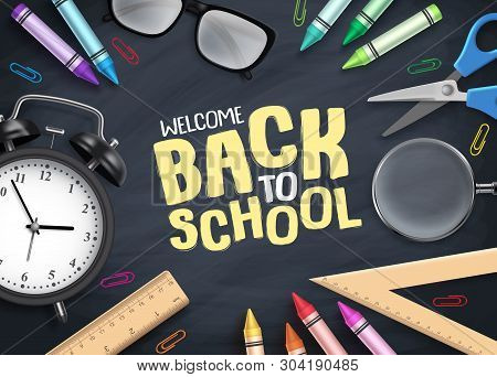 Back To School Vector Background. Colorful School Supplies And Educational Items With Back To School