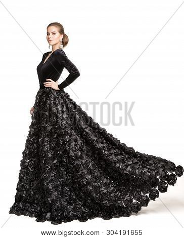 Fashion Model Black Dress, Elegant Woman In Long Evening Gown, Girl Beauty Portrait Isolated Over Wh