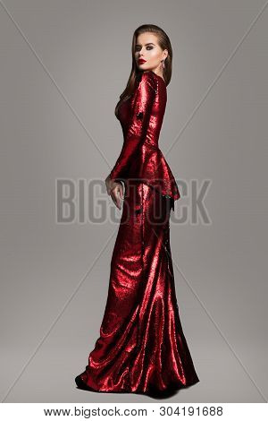 Fashion Model Red Sparkling Dress, Elegant Woman In Long Evening Gown, Beautiful Girl Beauty Full Le