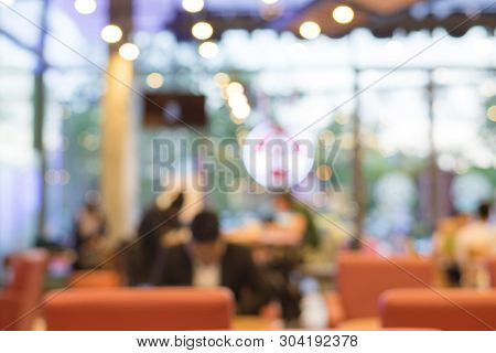 Blurred Or Defocus Of Made With Vintage Tones,coffee Shop Blur Background With Bokeh