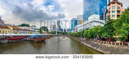Clarke Quay, Singapore - May 12, 2019 : Panorama Of Clarke Quay Along Singapore River, Singapore At