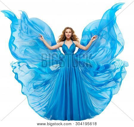 Woman Blue Dress, Fashion Model In Long Waving Gown As Butterfly Wings, Flying Fluttering Fabric
