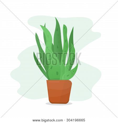 Green Plant In Terracotta Flower Pot. Vector Plant On Abstract Background. Flower Shop Banner Templa