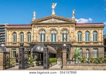 San Jose,costa Rica - March 23,2019 - View At The Building Of National Theatre In San Jose. San Jose