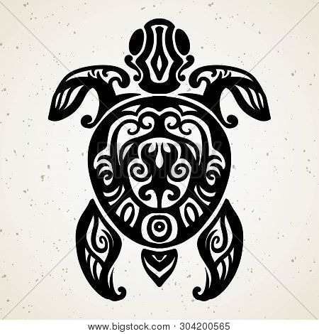 8597f685e Tribal Tattoo With Decorative Sea Turtle With Ethnic Pattern. Authentic  Artwork With A Symbol Of