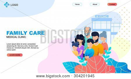 Medical Clinic Landing Page. Family Care Title. Cartoon Parents, Children, Aged Relatives Ahead Mode