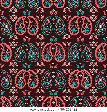 Traditional Medium Scale Colorful Paisley Foulard Vector Seamless Pattern. Oriental Indian Print. Wh