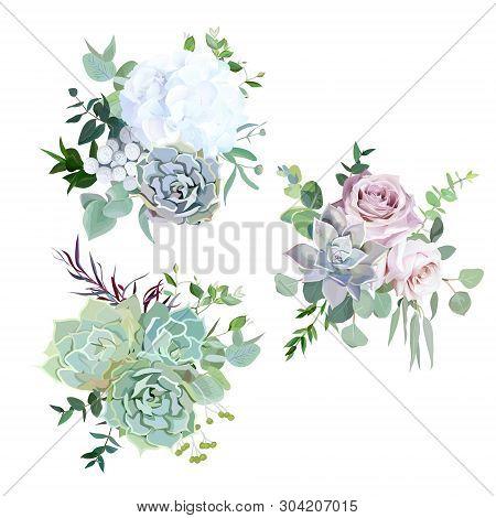 Echeveria Blue, Grey, Mint Succulents, White Hydrangea, Pale Pink And Lavender Rose, Greenery And Eu