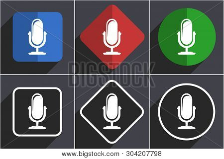 Microphone set of flat design web icons in 6 options