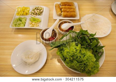 Food Set Vietnamese Meatball Wraps Nam Neung Or Nam Neaung Thai Style Server With Fruits And Vegetab