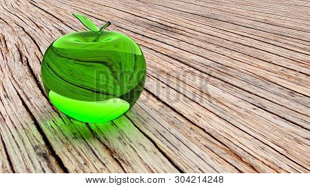 Glassy Apple Glass 3d Model. Green Glass Apple On A Brown Wooden Table. Closeup Of Green Glass Apple