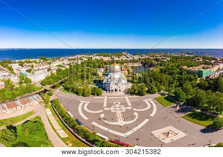 Beautiful Top View Of Kronshtadt Naval Cathedral Of St. Nicholas On A Sunny Summer Day. Built In 190