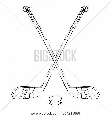 Hockey Stick With Puck. Vector Illustration Of Crossed Hockey Sticks. Hand Drawn Sports Equipment Ho