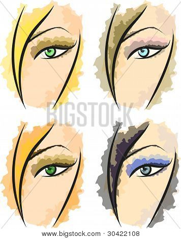 Set Ot Picturesque Vector Patterns Representing Four Seasons' Girl Faces. Eps 10