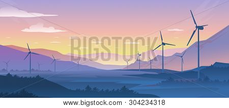 Mountain Ecology Landscape. Sustainable Wind Energy Turbines Silhouette With Pine Forest And Mountai