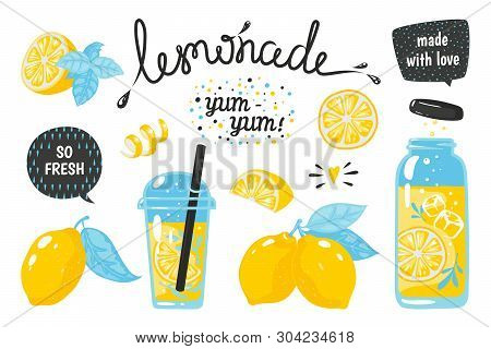 Hand Drawn Lemonade. Lemon Juice Bubble Drink With Labels And Typography, Summer Cold Cocktail. Vect