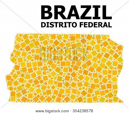 Gold Square Mosaic Vector Map Of Brazil - Distrito Federal. Abstract Mosaic Geographic Map Of Brazil