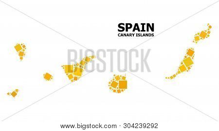 Gold Square Mosaic Vector Map Of Canary Islands. Abstract Mosaic Geographic Map Of Canary Islands Is