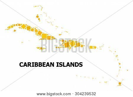 Gold Square Mosaic Vector Map Of Caribbean Islands. Abstract Mosaic Geographic Map Of Caribbean Isla