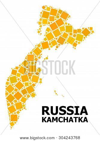 Gold Square Mosaic Vector Map Of Kamchatka Peninsula. Abstract Mosaic Geographic Map Of Kamchatka Pe