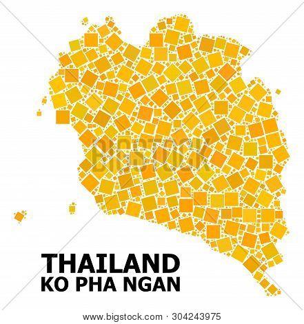 Gold Square Mosaic Vector Map Of Ko Pha Ngan. Abstract Mosaic Geographic Map Of Ko Pha Ngan Is Organ
