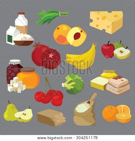 Dairy Products, Fats, Sweets, Fruits, Vegetables, Berries, Cerea
