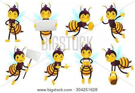 Cartoon Bee Character. Bees Honey, Flying Cute Honeybee And Funny Yellow Bee Mascot Vector Illustrat