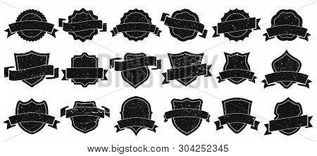 Vintage Badge Frames. Grunge Badges, Retro Logo Emblem Frame And Old Label Emblem Silhouette Isolate