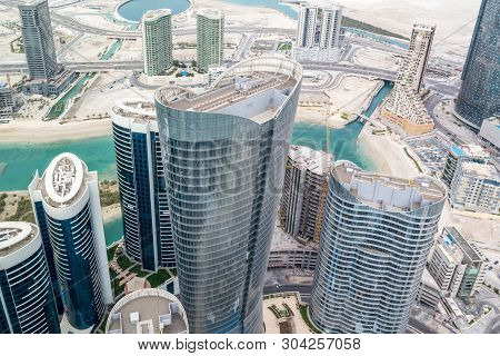 Aerial Drone Shot Of Skyscrapers And Towers In The City - Abu Dhabi Al Reem Island Towers - Abu Dhab