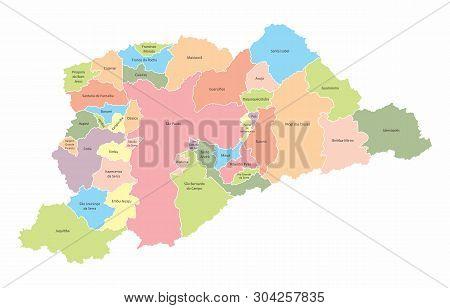 A Map Of The Sao Paulo Metropolitan Region With Municipalities Borders, Brazil