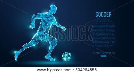 Abstract Soccer Player, Footballer From Particles On Blue Background. All Elements On A Separate Lay