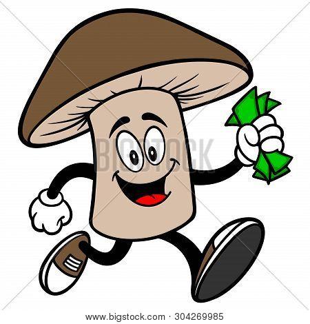 Shiitake Mushroom Running With Money - A Cartoon Illustration Of A Shiitake Mushroom Mascot.