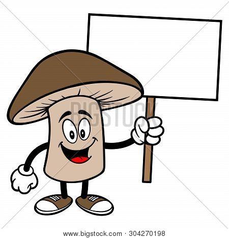 Shiitake Mushroom With A Sign - A Cartoon Illustration Of A Shiitake Mushroom Mascot.