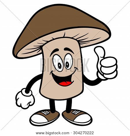 Shiitake Mushroom With Thumbs Up - A Cartoon Illustration Of A Shiitake Mushroom Mascot.