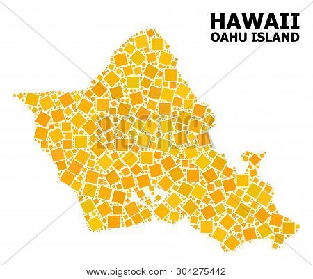 Gold Square Mosaic Vector Map Of Oahu Island. Abstract Mosaic Geographic Map Of Oahu Island Is Desig