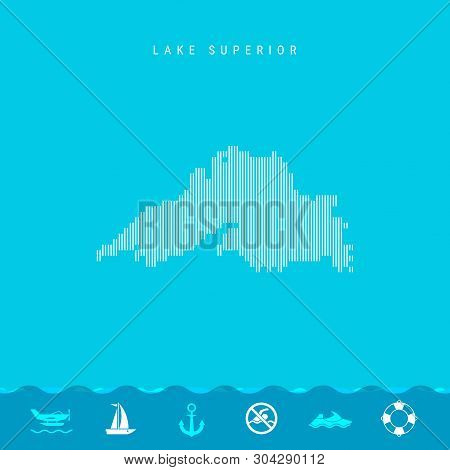 Vector Vertical Lines Pattern Map Of Lake Superior, One Of The Five Great Lakes Of North America. St