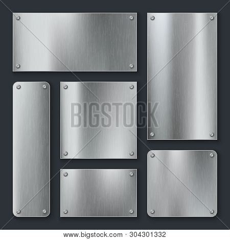 Metal Plates. Steel Plate, Stainless Panel Chrome Tag With Screws. Industrial Technology Metallic Bl