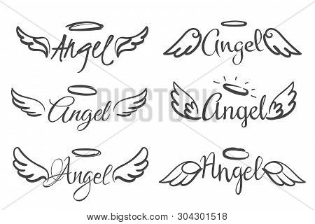 Angels Wings Emblems. Feather Angel Wing And Halo, Sketch Feathers Bird Line Tattoo. Hand Drawn Fant