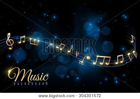 Music Note Poster. Musical Background, Musical Golden Notes Swirling. Jazz Album, Classical Symphony
