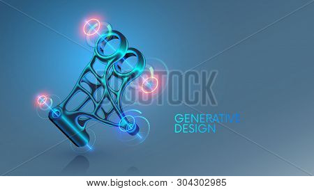 Generative Design, Development 3d Model Steel Part On Cad System. Industrial Design Mechanical Item