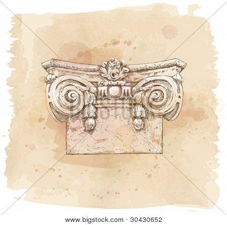 Hand draw sketch chapiter. Bitmap copy my vector
