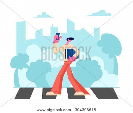 Young Handsome Man In Fashioned Clothing With Smartphone And Documents Folder In Hands Walking Along