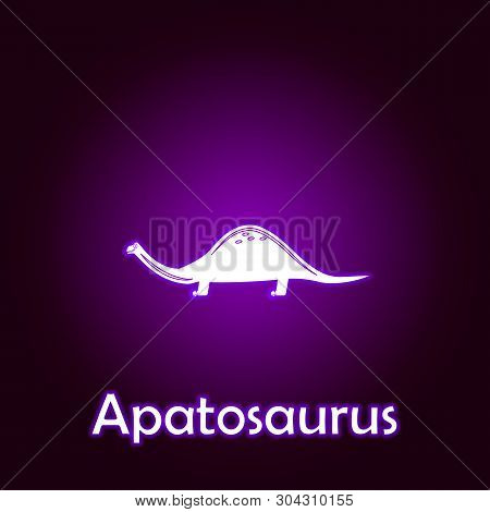 Apatosaurus Outline Vector. Elements Of Dinosaurs Illustration In Neon Style Icon. Signs And Symbols