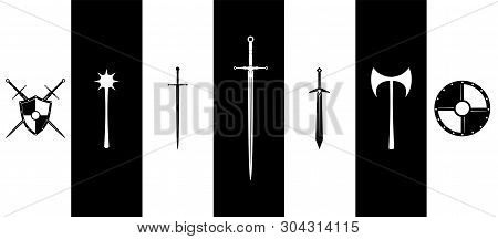 Medieval Weapon And Shields Set, Armory Black And White
