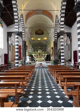 Monterosso Al Mare, Italy - April 21, 2019 Church Of San Giovanni Battista In Monterosso Al Mare Cin