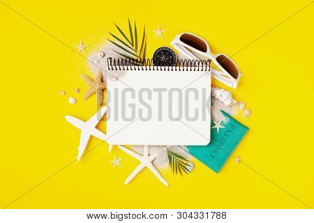 Planning Summer Holidays, Trip And Vacation Background. Travelers Notebook With Accessories On Fashi