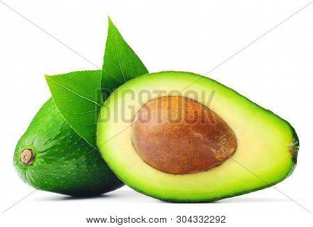 Avocado Half And Whole Isolated On White Background.
