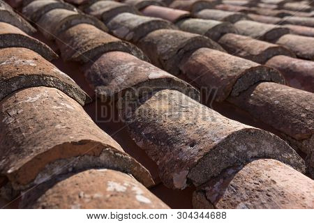 Mediterranean Style Old Roof Tiles Background. Architectural Ele