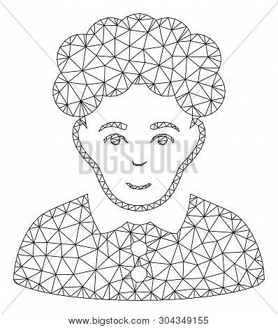 Mesh Brunette Woman Polygonal Icon Vector Illustration. Model Is Based On Brunette Woman Flat Icon.