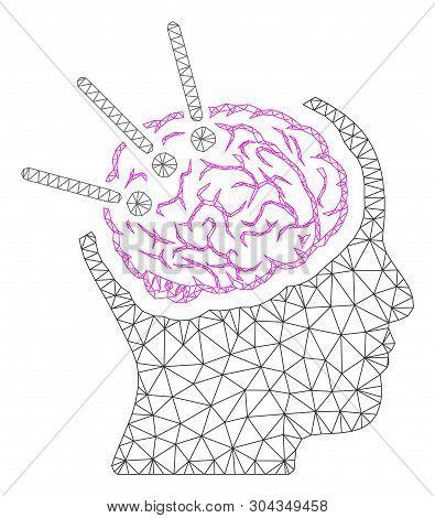 Mesh Brain Autopsy Polygonal 2d Vector Illustration. Carcass Model Is Based On Brain Autopsy Flat Ic